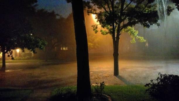 Stormy Night in Texas Suburb during Hurricane Harvey stock photo