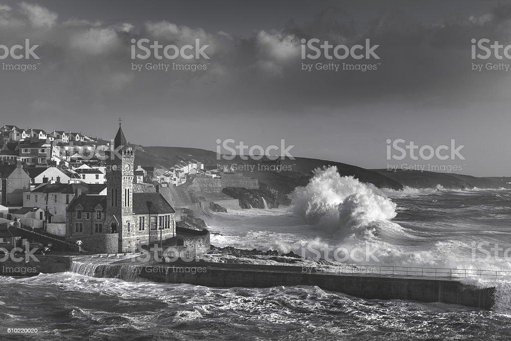 Stormy Porthleven stock photo