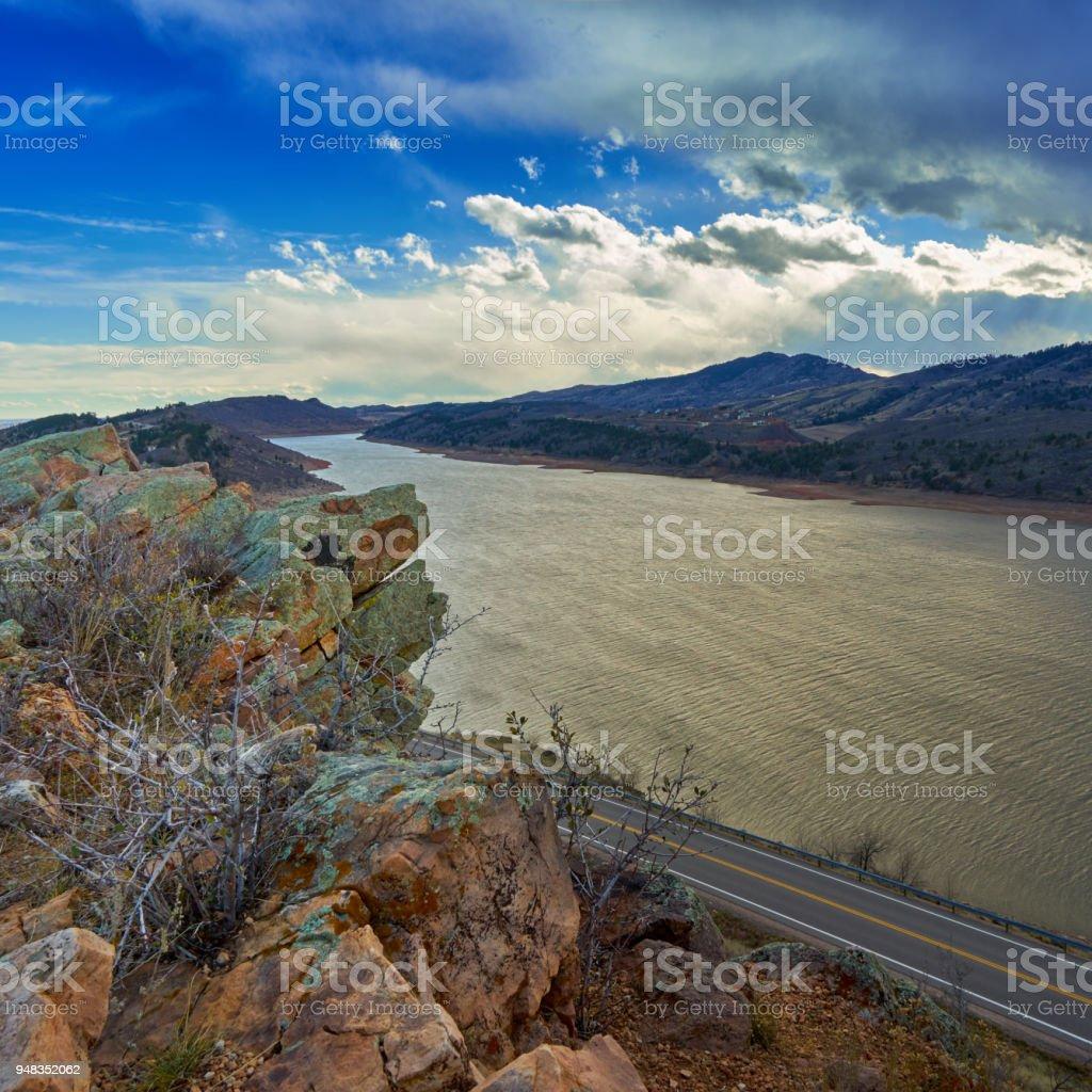 Stormy reservoir stock photo