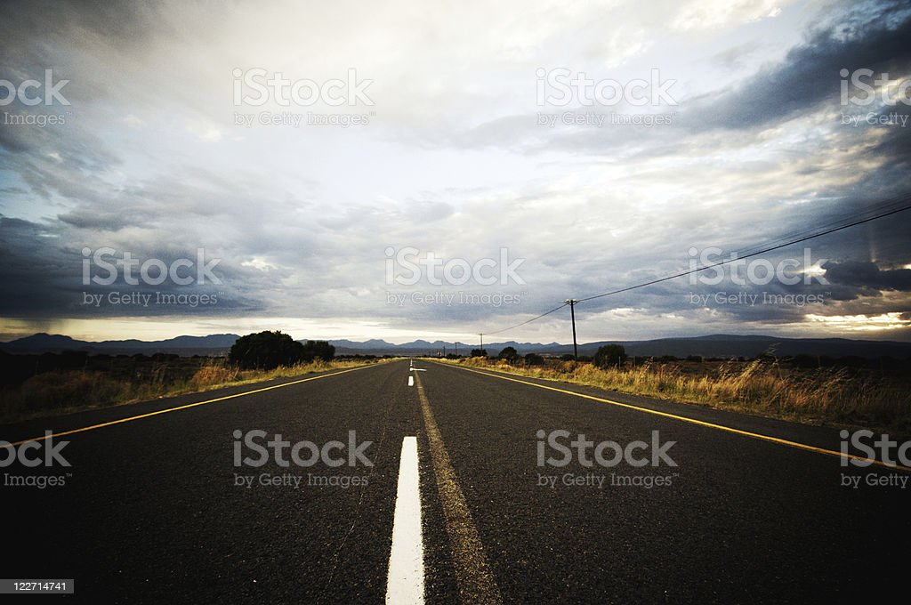 Stormy road ahead stock photo