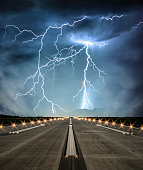 Airport runway at dusk on a stormy day