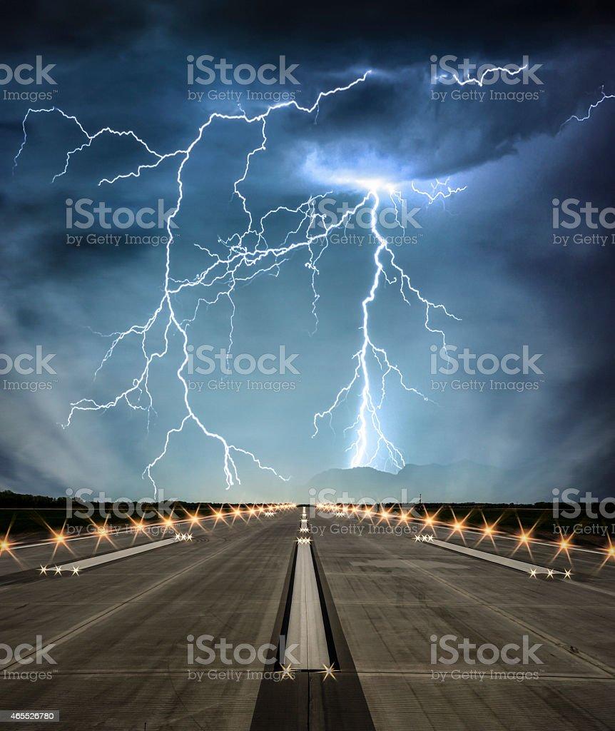 Stormy Runway stock photo
