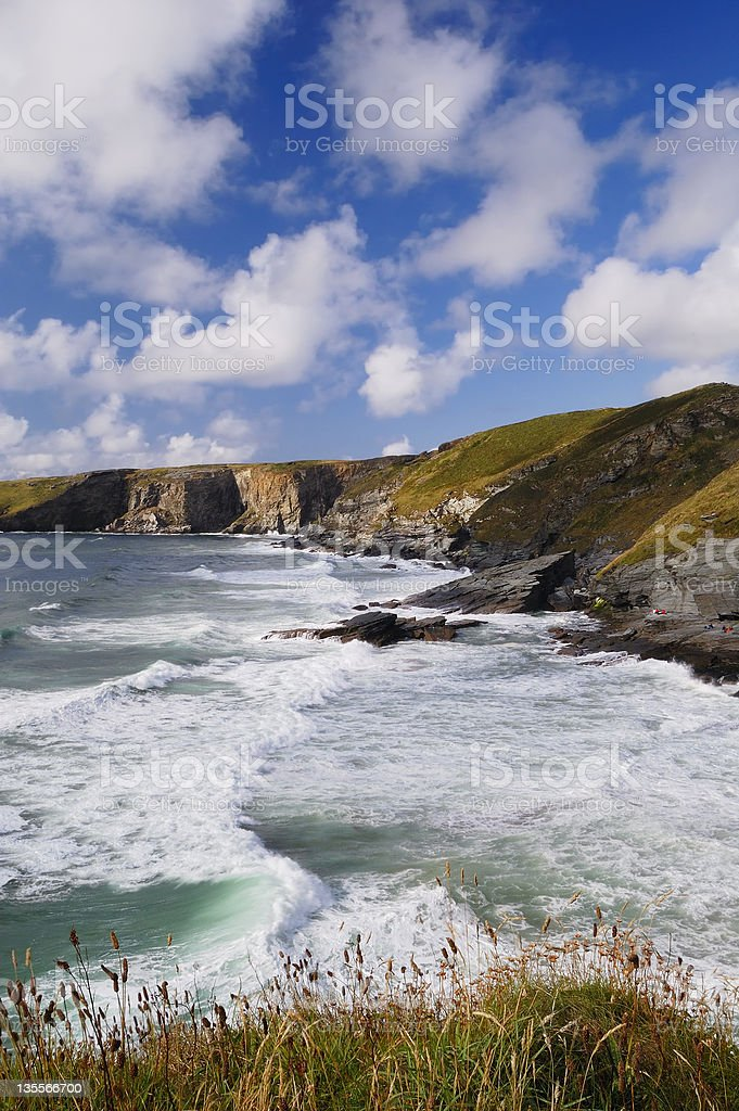 Stormy Sea and Blue Sky, Trebarwith Strand, Cornwall, UK royalty-free stock photo