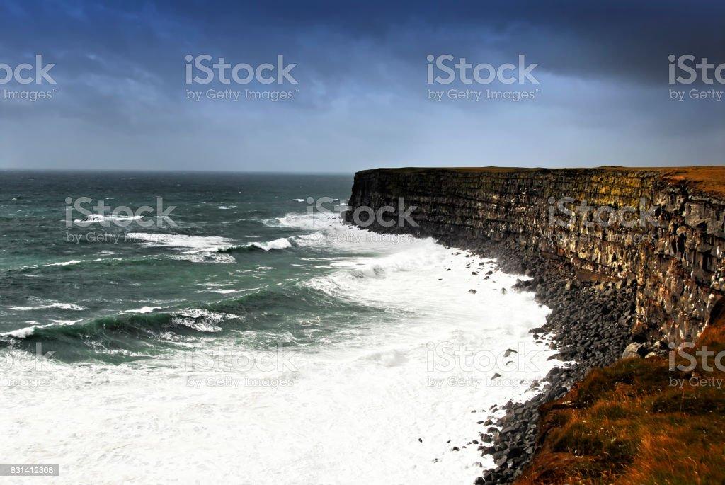 Stormy sea at Krisuvikurberg cliffs, Reykjanes Peninsula,Iceland stock photo