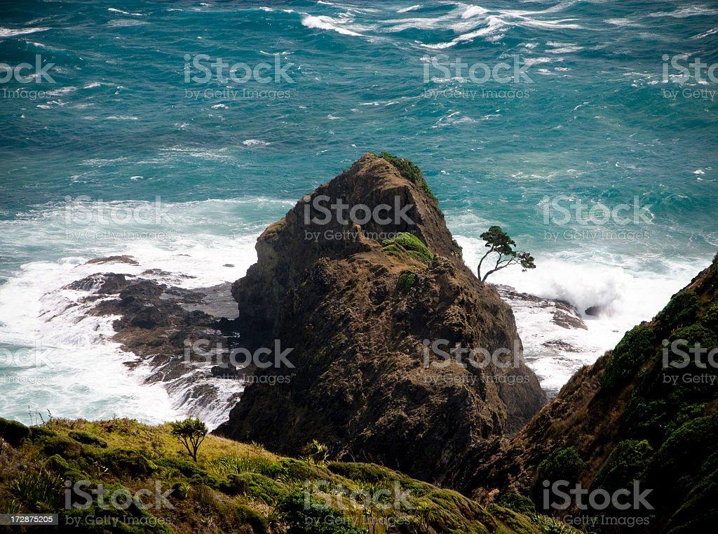 Stormy Sea Hits Land stock photo