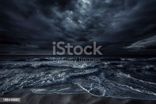 Shot of stormy sea and rocks against.