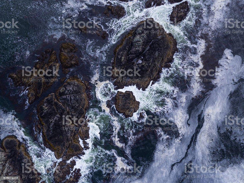 stormy seas aerial stock photo