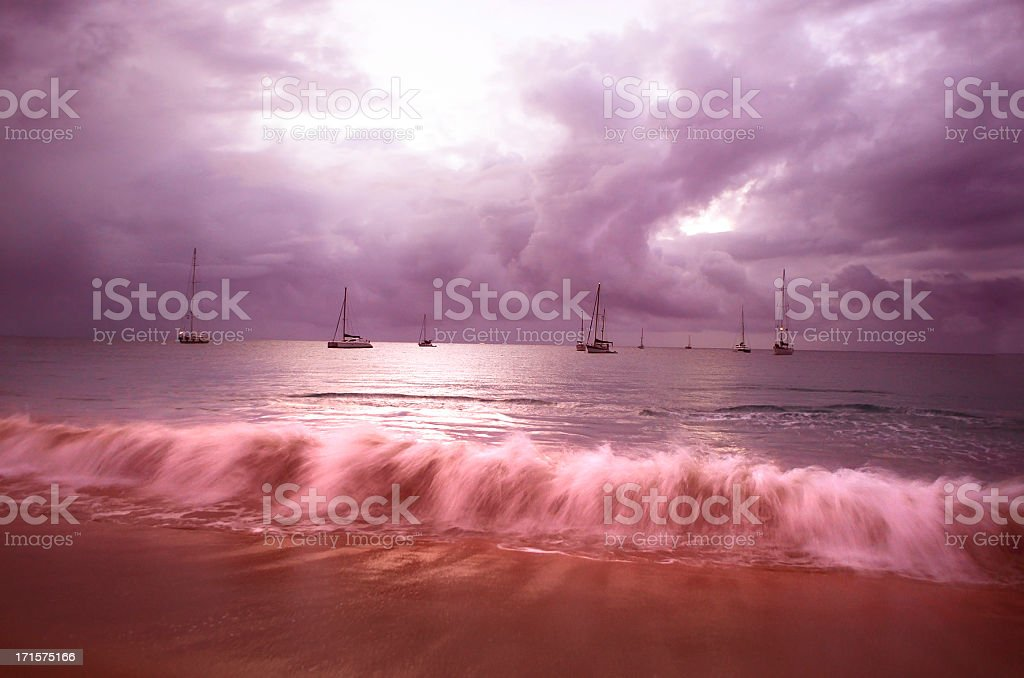 stormy seas; dramatic beach scene at evening royalty-free stock photo