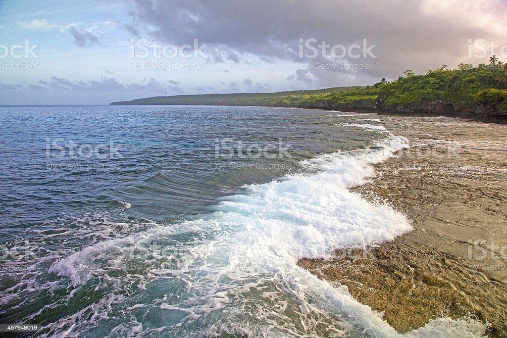 Stormy skies over Alofi harbour, Niue. stock photo