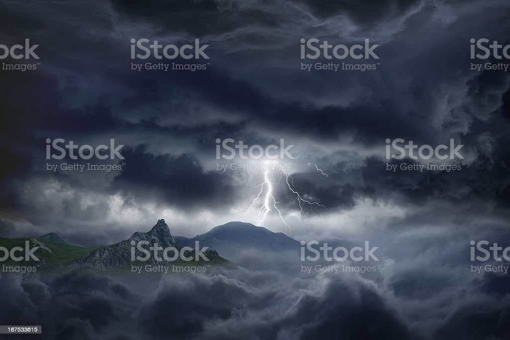 Stormy sky, lightning, mountain stock photo