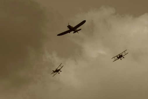 Stormy sky of the WWI dogfight in sky