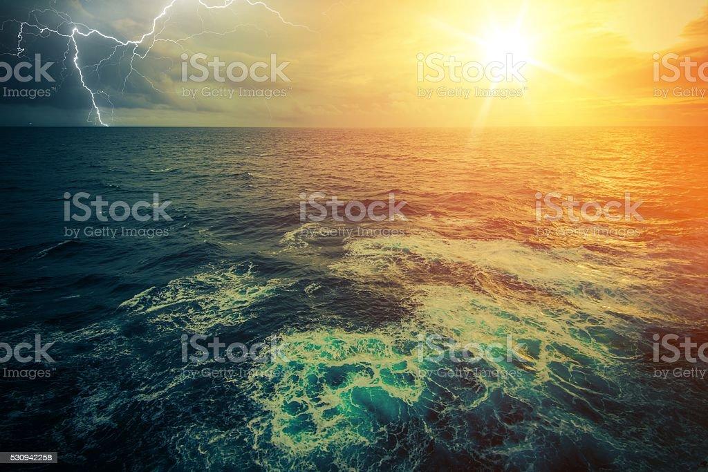 Stormy Sunny Ocean stock photo