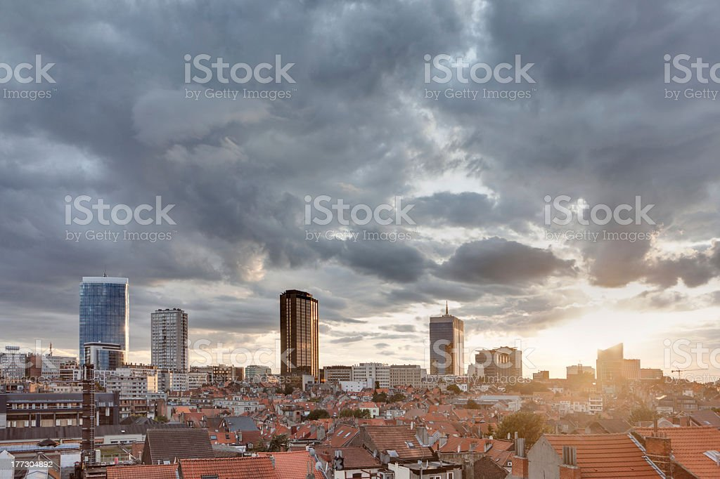 stormy sunset over brussels stock photo