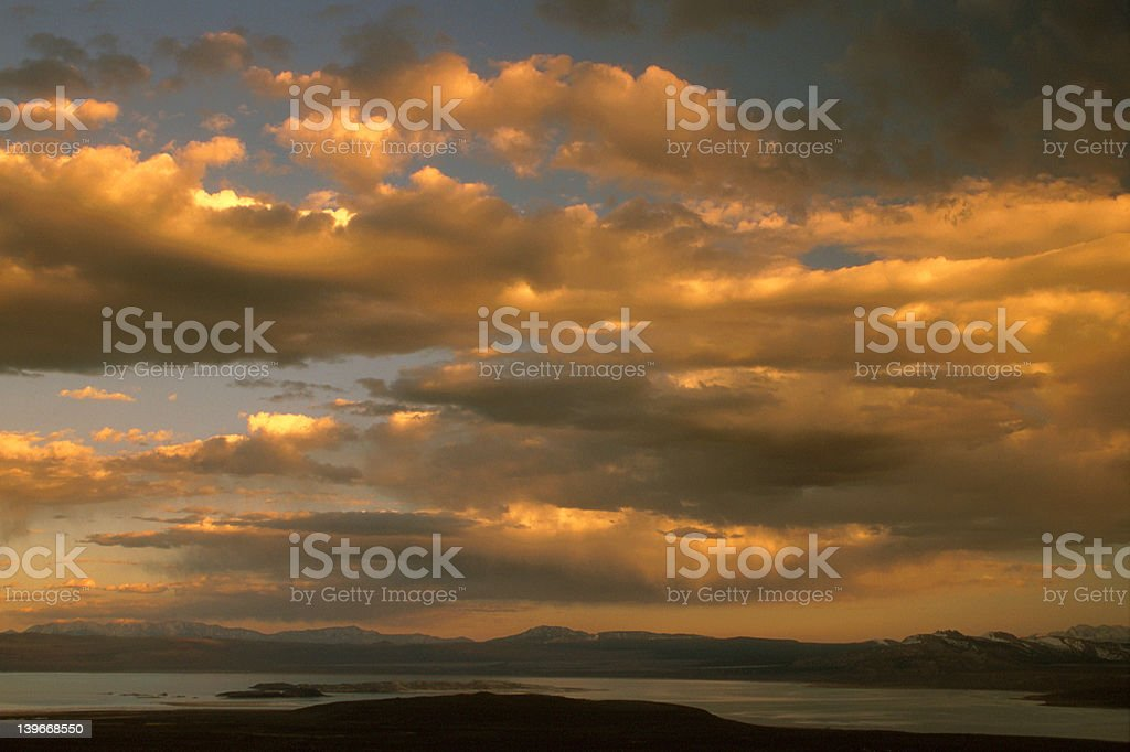 Stormy sunset over the lake royalty-free stock photo