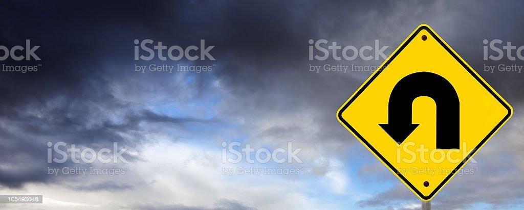 Stormy Weather Ahead - U Turn  Black Color Stock Photo