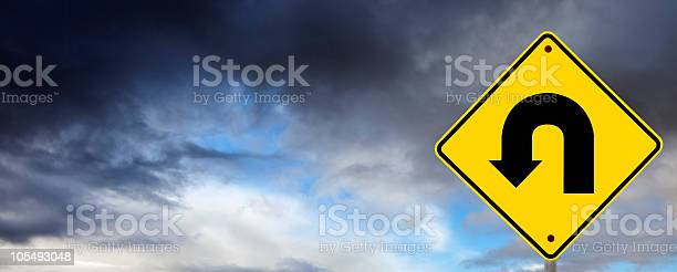 Stormy Weather Ahead U Turn Stock Photo - Download Image Now