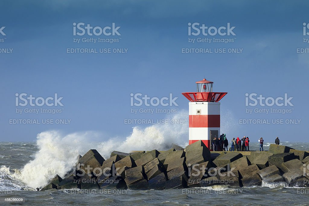stormy weather along the Dutch coast stock photo