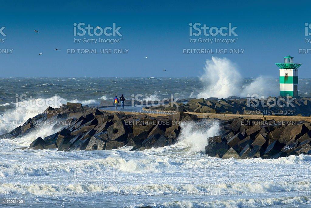 stormy weather along the Dutch coast stock photo