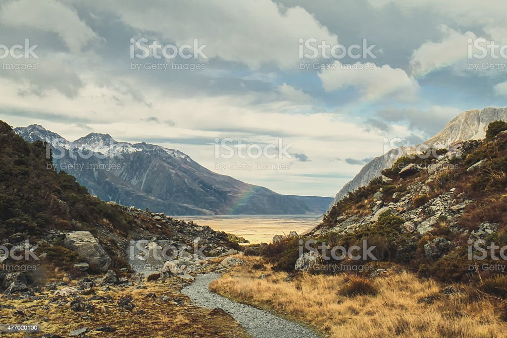 Stormy Weather at Mount Cook National Park stock photo