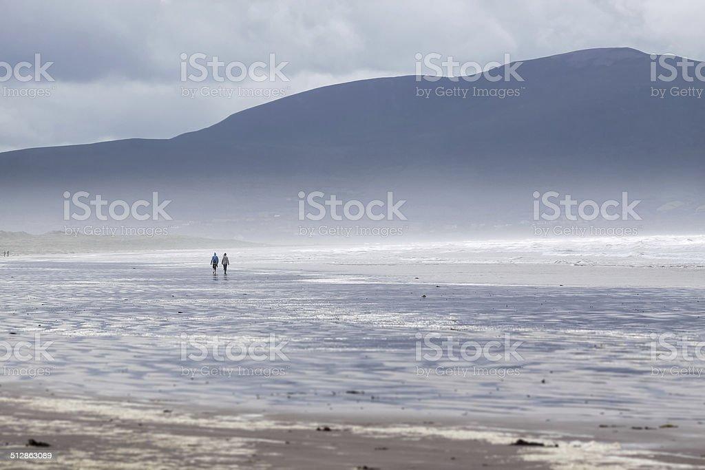 Stormy weather on beach stock photo
