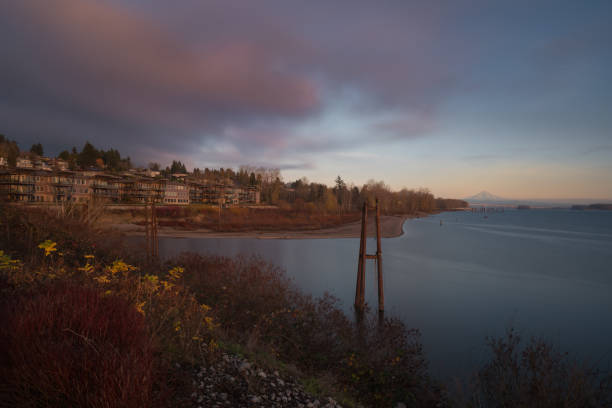 Stormy winter scenic sunset on the Columbia River waterfront in Vancouver Washington stock photo