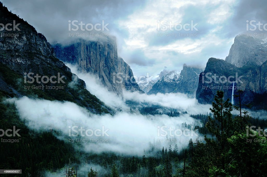 Stormy Yosemite Valley stock photo