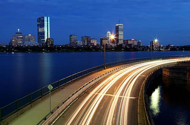 Storrow Drive and the Boston Skyline stock photo