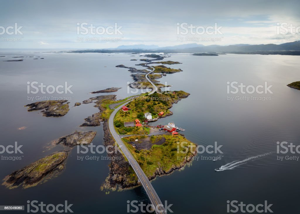 Storseisundet Bridge, Atlantic Ocean Road Norway stock photo