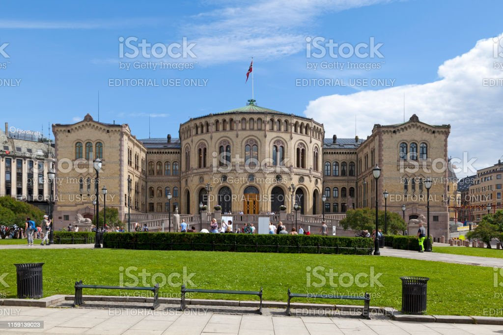 Storting building in Oslo Oslo, Norway - June 26 2019: The Storting building (Norwegian: Stortingsbygningen) is the seat of the Storting, the parliament of Norway. Architecture Stock Photo