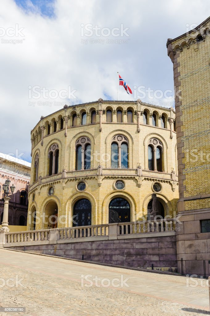 Stortinget, the seat of Norway's parliament, Oslo, Norway stock photo