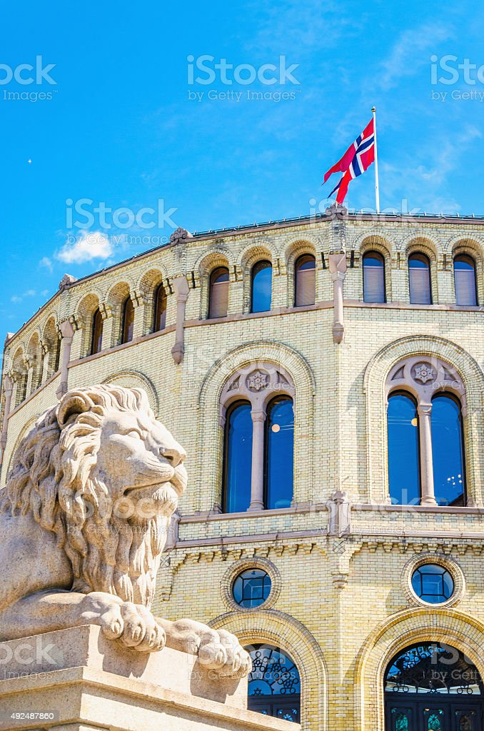 Stortinget, the seat of Norway's parliament, Oslo stock photo