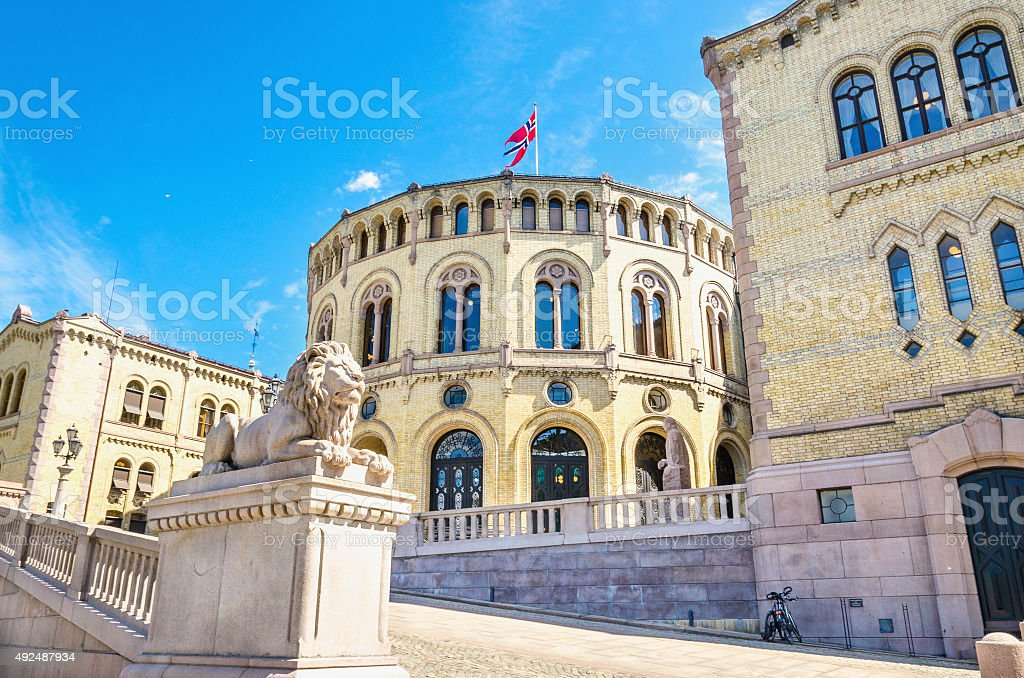 Stortinget, the seat of Norway's parliament. stock photo