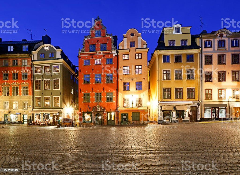 Stortorget at night, Stockholm, Sweden royalty-free stock photo