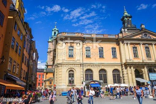 Stockholm/Sweden - July 29, 2017 - Stortorget square landmark