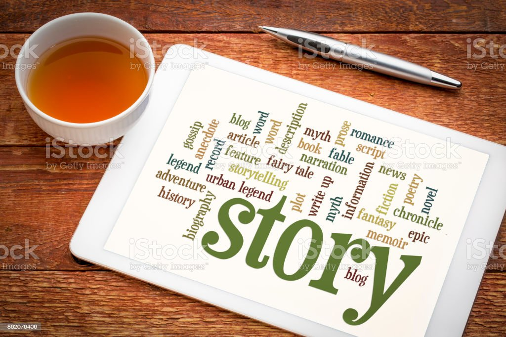 story and storytelling word cloud on tablet stock photo