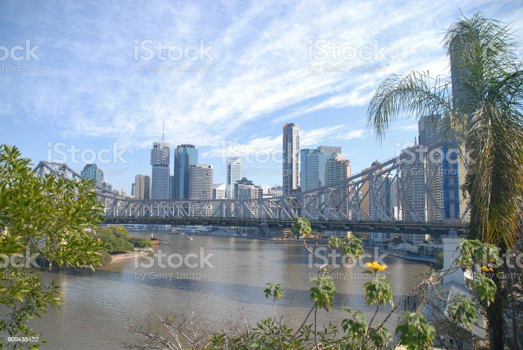 Story Bridge and skyline of Brisbane stock photo