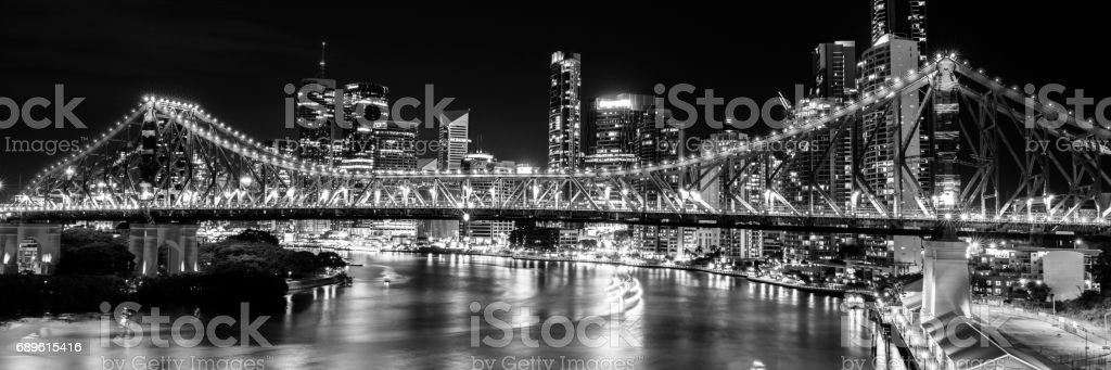 Story Bridge in Brisbane. Black and White stock photo