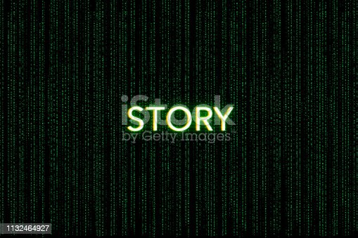 862615830 istock photo story, keyword of scrum, on a green matrix background 1132464927