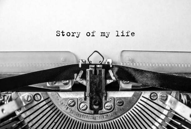 Story of my life, printed on a vintage typewriter stock photo