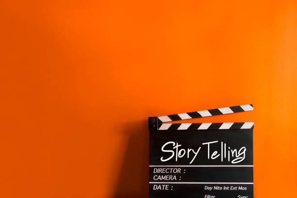 Story telling text title on film slate for movies and digital marketing Important tools for creating movies And digital marketing performing arts event stock pictures, royalty-free photos & images