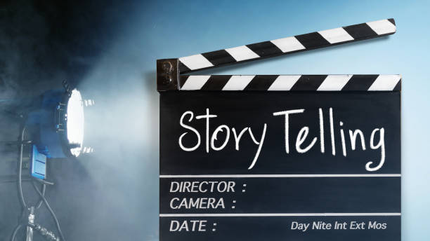 Story  telling text title on film slate.Studio lighting equipment background stock photo