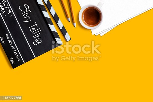 filmmaker equipment Put on a yellow background
