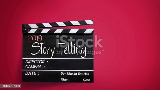 istock 2019 story telling ,text title on movie Clapper board 1066227324