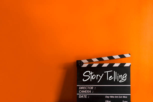 story telling,text title on film clapperboard - film director stock pictures, royalty-free photos & images