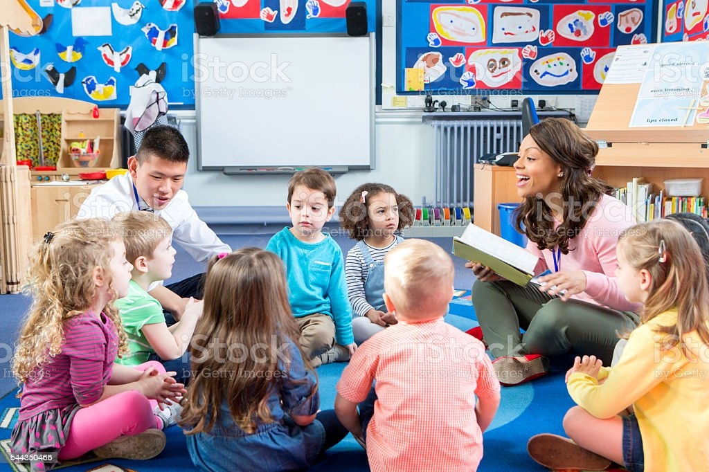 Story Time at Nursery stock photo