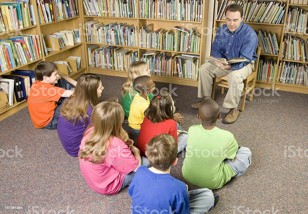 Story Time in the School Library royalty-free stock photo