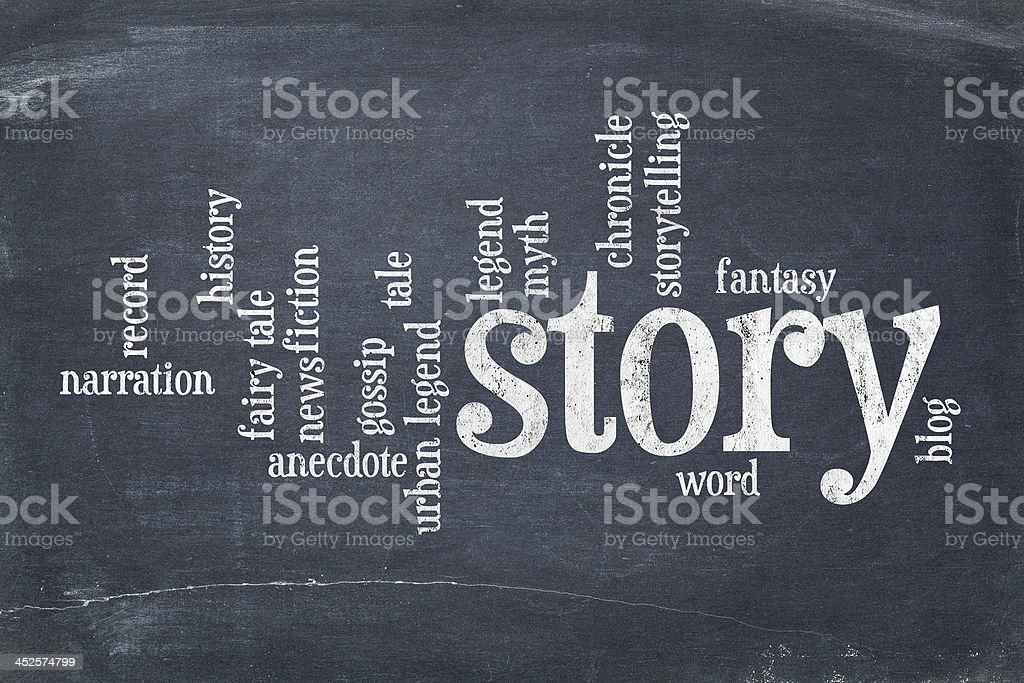 story word cloud on blackboard stock photo