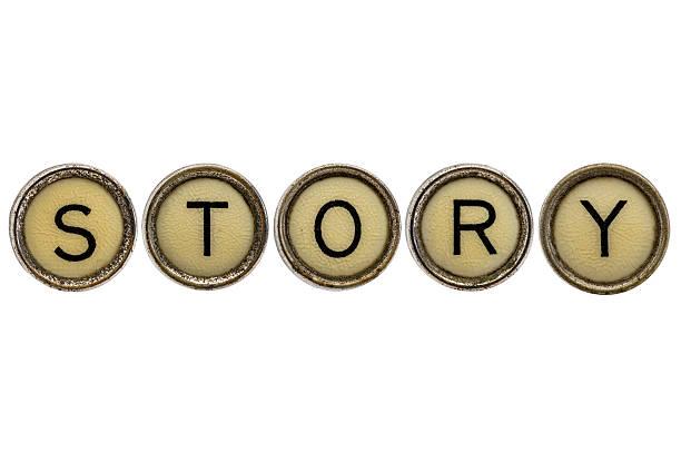 story word in typewriter keys stock photo
