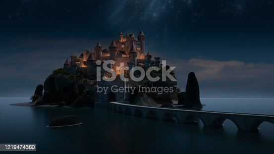 Computer generated image of a fantasy castle.