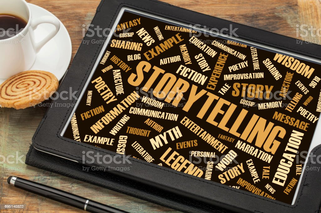 storytelling  and story word cloud on digital tablet stock photo